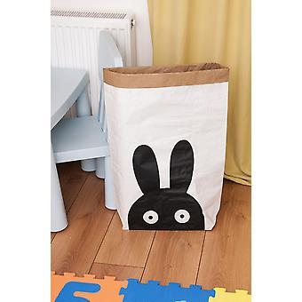 Cesta de coelhos Cor Branco, Preto em Placa Kraft, Vinil, L50xP15xA60 cm