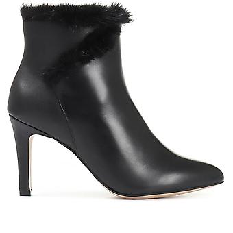 Jones Bootmaker Womens Faux Fur Trimmed Heeled Leather Ankle Boot