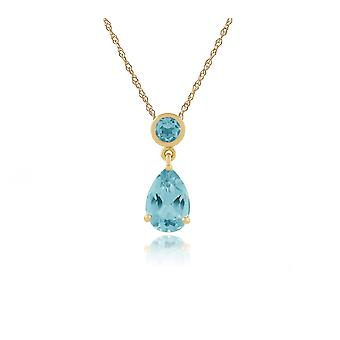 Classic Pear Blue Topaz Pendant Necklace in 9ct Yellow Gold 186P0188029