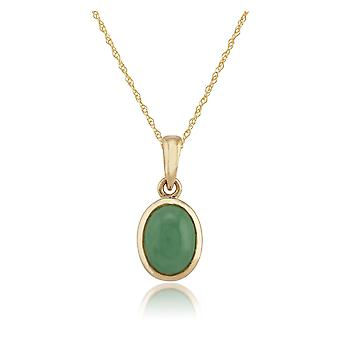 Classic Jade Cabochon Pendant Necklace in9ct Yellow Gold 8005