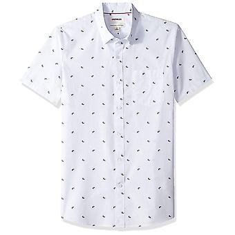 Goodthreads Men's Standard-Fit Short-Sleeve Dobby Shirt, -light, White, Size 3.0
