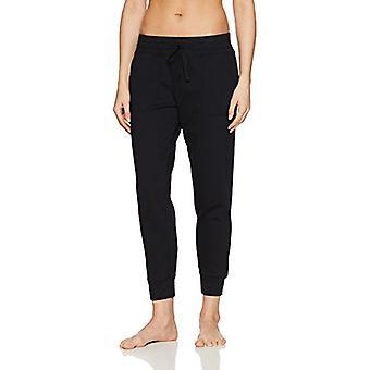 Brand - Mae Women's Loungewear Wide Waist Jogger Pant, Black, S