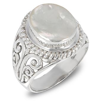 ADEN 925 Sterling Argent Blanc Nacre Anneau ovale (id 3379)