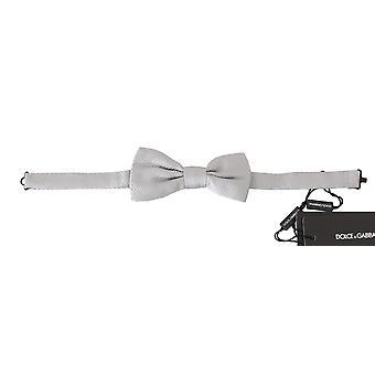 Dolce & Gabbana Harmaa Silkki Barokki Jacquard Miehet Rusetti Papillon -- FT10672880