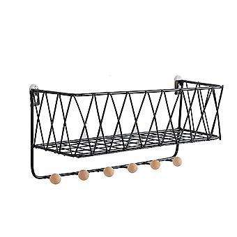 Wall-Mounted Storage Basket Large Black 35.5 x 16.5 x 12cm