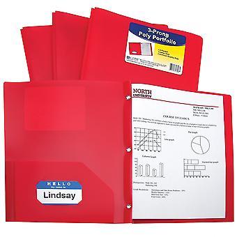 33964BNDL12EA, Carpeta de cartera de poliéster pesado de dos bolsillos con puntas, rojo (conjunto de 12 carpetas)