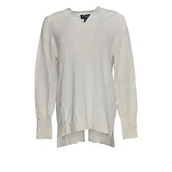 Attitudes van Renee Women's Sweater Long Sleeve V-Neck Ivory A373241