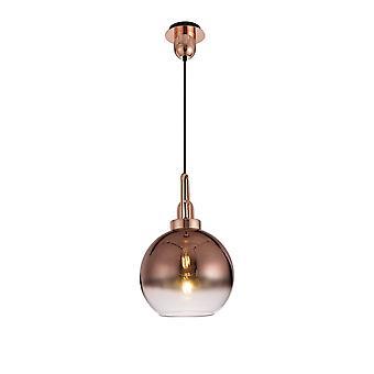 Éclairage Luminosa - Dôme Plafond Pendentif E27 avec verre globe de 30cm, cuivre, noir mat, clair