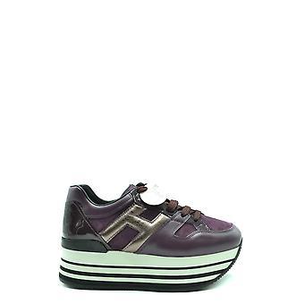Hogan Ezbc030213 Women's Burgundy Leather Sneakers