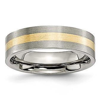 Titanium harjattu flat band kaiverrus 14k kulta inlay 6mm satiini bändi rengas korut lahjat naisille - rengas koko: 6-13