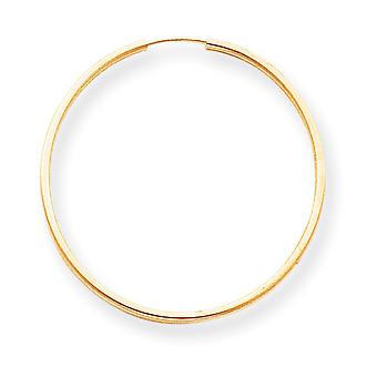 14k Yellow Gold Hollow Polished Endless Hoop Earrings - .8 Grams - Measures 32x32mm