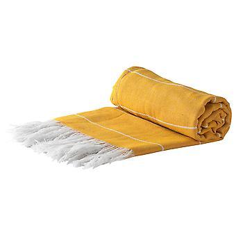 Nicola Primavera 100% Turco Asciugamano di cotone Palestra Da bagno sulla spiaggia Sauna Foglio di lancio stile Hammam Peshtemal Fouta - Senape