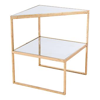 """18.3"""" x 18.3"""" x 22.2"""" Gold, Mirror & Steel, Side Table"""