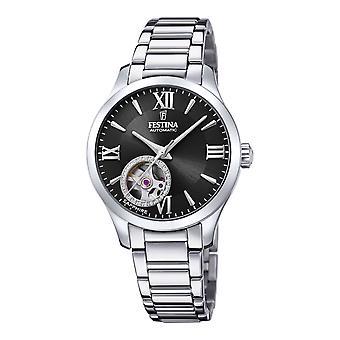 フェスティナ F20488-2 女性&アポス;s ブラック ダイヤル シルバー トーン 自動腕時計