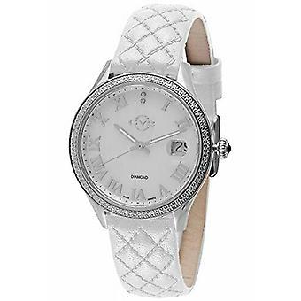GV2 Av Gevril Women's 1800 Asti Diamonds MOP Dial vitt läder datum armbandsur