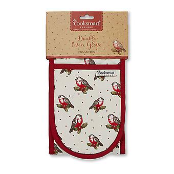 Cooksmart Christmas Red Robin Double Oven Glove
