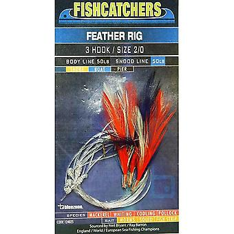 Bluezone 3 Hook Feather Rig (2/0) Natural