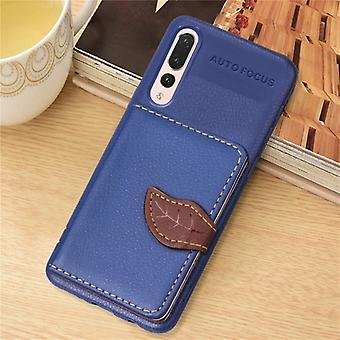 Leaf Style Magnetic Leather Case for Huawei P20 Pro, with Holder & Card Slots & Wallet & Photo Frame (Dark Blue)