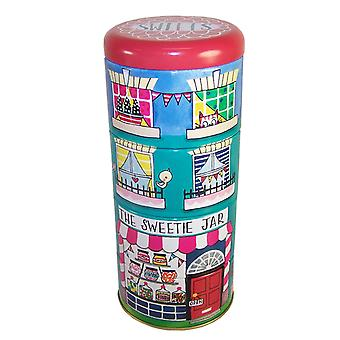 Childrens stacking sweet shop storage tins