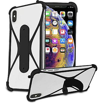 (Black) Soft Silicone Stretchy Bumper Stand Case X-Shape Design for Blackview BV6300 Pro