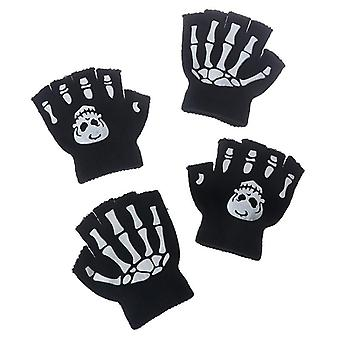 Boys Cool Fluorescent Skeleton Gloves, Mittens, Skull Cool Winter Knitting
