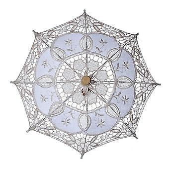 Pequeño paraguas de la boda mango de madera bordado algodón encaje beige