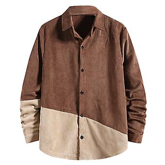 Yunyun Men's Corduroy Button Stylish Male Stitching Long Sleeve Casual Outwear Shirt