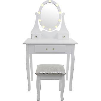Toaletný stolík s LED zrkadlom a zladenou stoličkou - 3 zásuvky