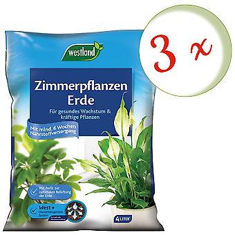 Sparset: 3 x WESTLAND® houseplants earth, 4 liters