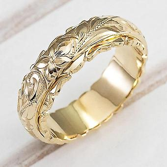 Elegant Craved Flower Pattern Band Ring Metal Wedding Bridal Classic Timeless