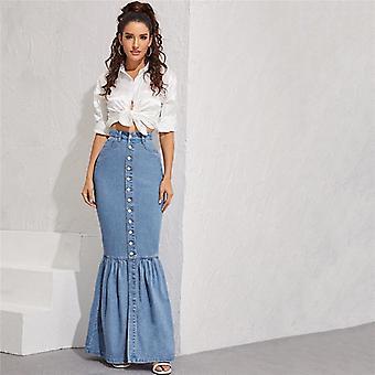 Button Front Fishtail, Hem Denim Maxi Skirt, Women, Autumn Pocket High Waist,