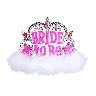 Bride to be tiara with white marabou accessory for fancy dress