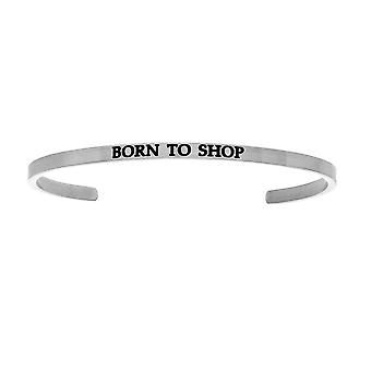 """Intuitions Stainless Steel BORN TO SHOP Diamond Accent Cuff  Bangle Bracelet, 7"""""""