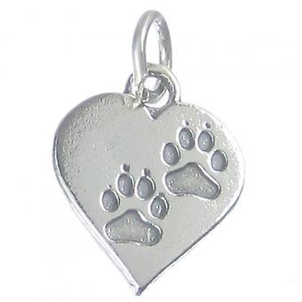 Pawprint Heart Sterling Silver Charm .925 X1 Paw Prints Pets Heart Charm - 3737