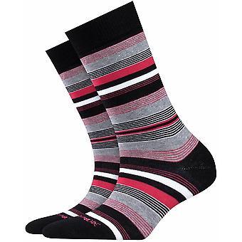 Calcetines Burlington Stripe - Negro/Gris/Rosa