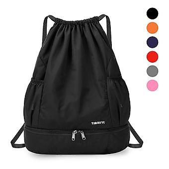 Foldable Drawstring Backpack, Sports Gym Bag With Wet And Dry Compartments