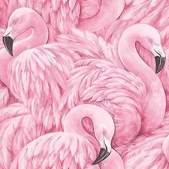 Lucy in the Sky Flamingo Wallpaper Pink Rasch 803211