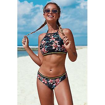 Black Halter Neck Floral Pattern Bikini Set