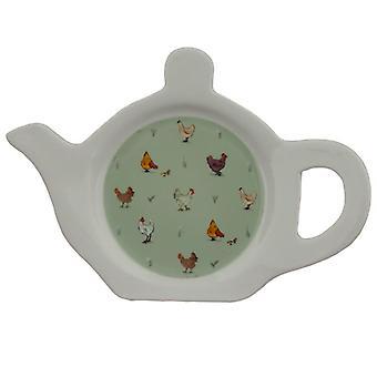 Prato/suporte de chá de porcelana - galinhas da fazenda de salgueiro