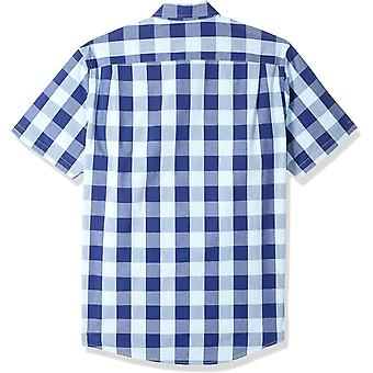 Essentials Men's Slim-Fit Short-Sleeve Check Casual Poplin Gömlek, Mavi...