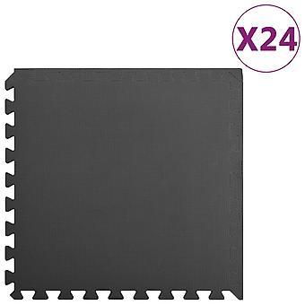 Floor Mats 24 Pcs 8.64 銕?eva Foam Black