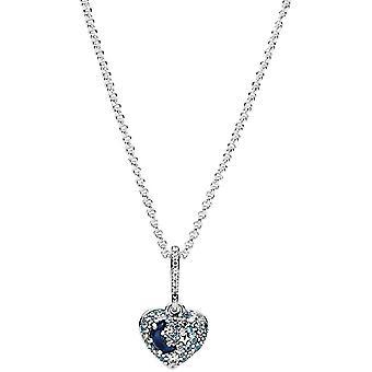 Pandora Funkelnde Blauer Mond & Sterne Herz Halskette Sterling-Silber 50 cm
