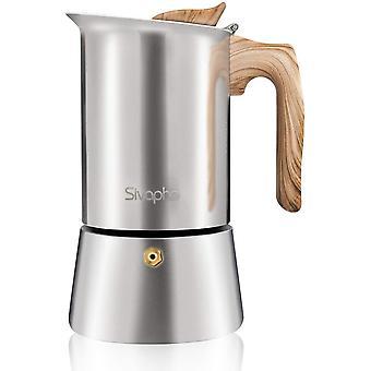 Gerui Moka Pot Espresso Maker, Stovetop Coffee Makers, Stainless Steel, Italian 9 Cups 450ML, 2-3