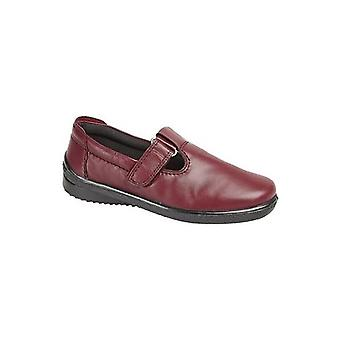 Mod Comfys Marie Ladies Leather T-bar Shoes Burgundy