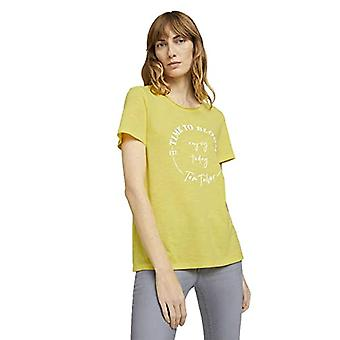 Tom Tailor 1024730 Wording T-Shirt, 25833-Smooth Yellow, XL Woman