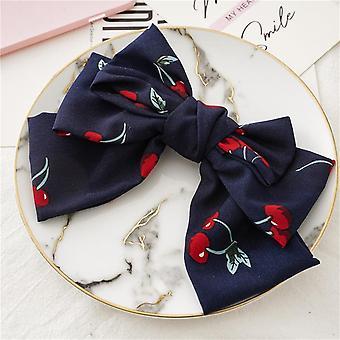 Cute bow chiffon barrettes lady updo hair ring
