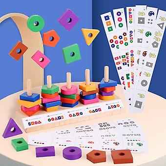 Wooden Toys Geometry Shape Matching GameEarly Education Toys For Children Puzzle Interactive Color