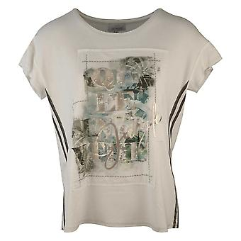 Just White Off White Drop Shoulder Capped Sleeve T-shirt With Front Printed Panel