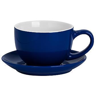 Gekleurde Cappuccino Cup & Schotel Set Porselein thee en Koffie mok 250ml Navy