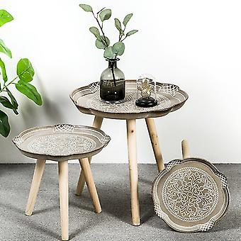 Wood Sofa Side Low Round Coffee Table Tray Storage Table Tea Fruit Snack Service Plate Tray Bed Living Room